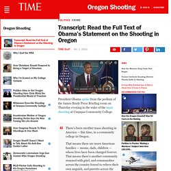 Transcript: Read the Full Text of Obama's Statement on the Shooting in Oregon