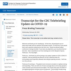 Transcript for the CDC Telebriefing Update on COVID-19