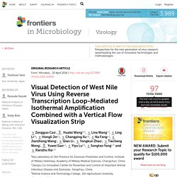 FRONTIERS IN MICROBIOLOGY 20/04/16 Visual Detection of West Nile Virus Using Reverse Transcription Loop-Mediated Isothermal Amplification Combined with a Vertical Flow Visualization Strip