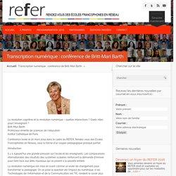 Transcription numérique : conférence de Britt-Mari Barth