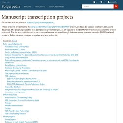 Manuscript transcription projects - Folgerpedia