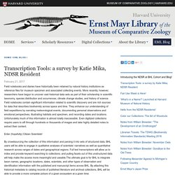 Transcription Tools: a survey by Katie Mika, NDSR Resident