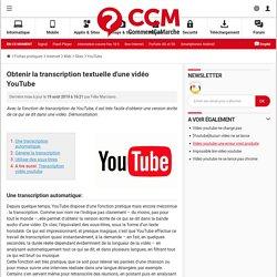 Obtenir la transcription textuelle d'une vidéo YouTube