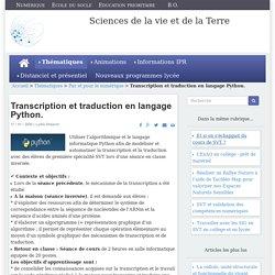 Transcription et traduction en langage Python.