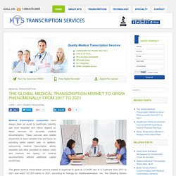 Global Medical Transcription Market to Witnessing Rapid Growth