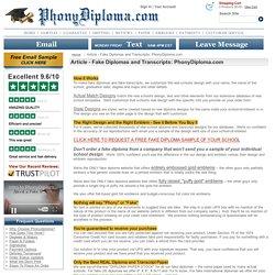 Fake High School Transcripts
