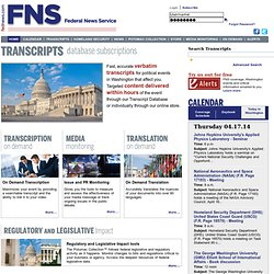 Federal News Service - Congressional Transcripts Online
