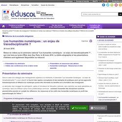 Réforme de la scolarité obligatoire - Les humanités numériques : un enjeu de transdisciplinarité ?