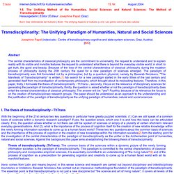 TRANS Nr. 15: Josephine Papst (Graz): Transdisciplinarity: The Unifying Paradigm of Humanities, Natural and Social Sciences