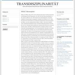 Mode 2-Konzeption : Transdisziplinarität