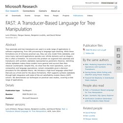 FAST: A Transducer-Based Language for Tree Manipulation