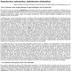 Transduction, information, individuation (Simondon)