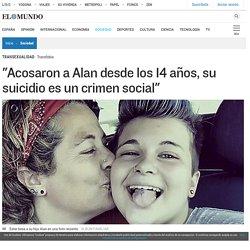 """Transexualidad: """"Acosaron a Alan desde los 14 años, su suicidio es un crimen social"""""""