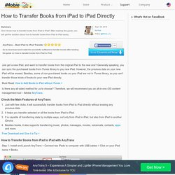 How to Transfer Books from iPad to iPad Directly – iMobie Inc.