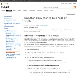 Transfer documents to another printer: Print Services