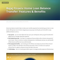 Bajaj Finserv Home Loan Balance Transfer: Features & Benefits - All About Loans