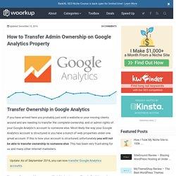 Transfer Admin Ownership on Google Analytics Property