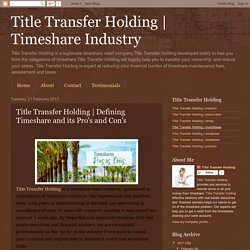 Defining Timeshare and its Pro's and Con's