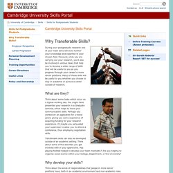 Why Transferable Skills?: : Cambridge University Skills Portal