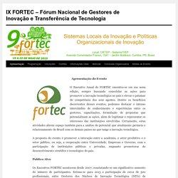IX FORTEC – Fórum Nacional de Gestores de Inovação e Transferência de Tecnologia