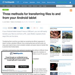 Three methods for transferring files to and from your Android tablet
