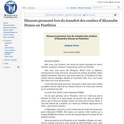 Discours prononcé lors du transfert des cendres d'Alexandre Duma
