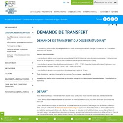 Transfert - Faculté des Sciences de l'Université Paris-Sud