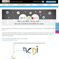 Mise à jour BCDI : Version 2.55 - Suivi des transferts entre BCDI et e-sidoc - Solutions documentaires