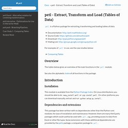 petl - Extract, Transform and Load (Tables of Data) — petl 0.17-SNAPSHOT documentation