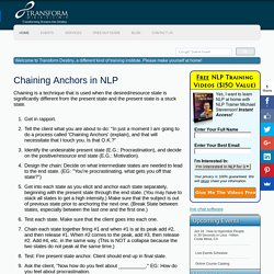 NLP Chain Anchors - Free NLP Guide from Transform Destiny - Live NLP and Hypnosis Trainings and Seminars