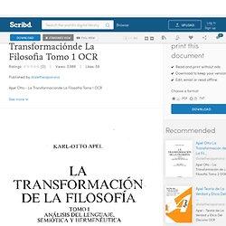 Apel Otto La Transformaciónde La Filosofia Tomo 1 OCR
