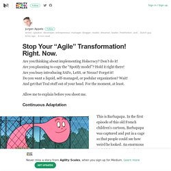 "Stop Your ""Agile"" Transformation! Right. Now. – Agility Scales – Medium"
