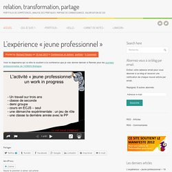 Relation, transformation, partage, le portfolio de compétences de Richard Peirano