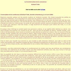 La transformation de la conscience - E. Tollé