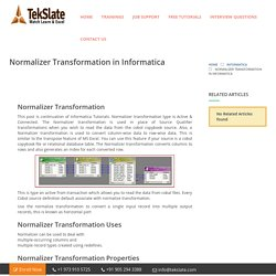 Normalizer Transformation in Informatica with Examples