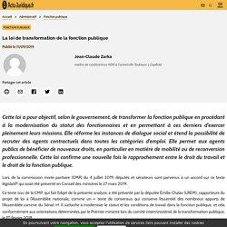 La loi de transformation de la fonction publique - Actu-Juridique