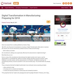 Digital Transformation in Manufacturing: Preparing for 2018