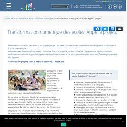Transformation numérique des écoles: Appel à projets