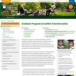EMU: Graduate Program in Conflict Transformation – Center for Justice & Peacebuilding