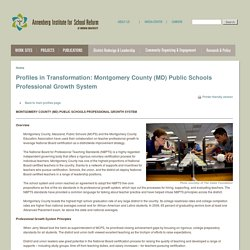 Profiles in Transformation: Montgomery County (MD) Public Schools Professional Growth System