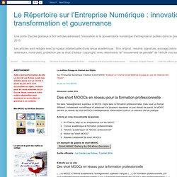 innovation, transformation et gouvernance: Des short MOOCs en réseau pour la formation professionnelle