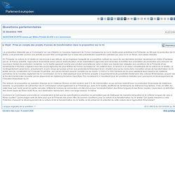 PARLEMENT EUROPEEN - Réponse à question E-2515/99 Prise en compte des projets d'usines de transformation dans la proposition sur