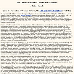 "The ""Transformation"" of Whitley Strieber"