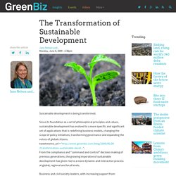 The Transformation of Sustainable Development