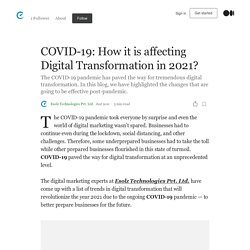 How COVID-19 will impact Digital Transformation in 2021?