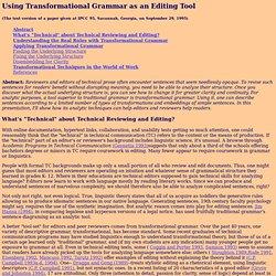 Using Transformational Grammar as an Editing Tool