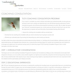 Coaching consultants - Transformational Learning Opportunities
