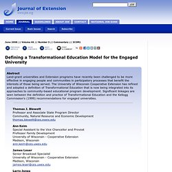 Defining a Transformational Education Model for the Engaged University
