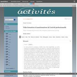 Vidéo formation et transformations de l'activité professionnelle