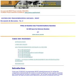 Villes et Gestion des Transformations Sociales - Documents de discussion - No. 2